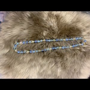 Jewelry - Blue, clear and silver beaded necklace.